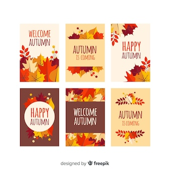 Autumn card collection flat style