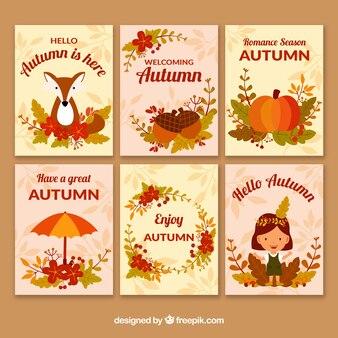 かわいい動物の秋のカードコレクション