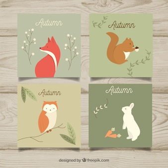 Autumn card collection with cute animals