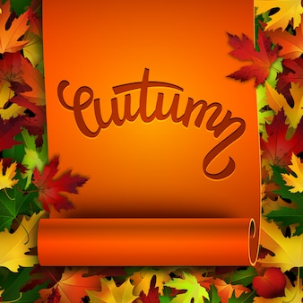 Autumn  card, realistic ribbon, colorful autumn leaves background
