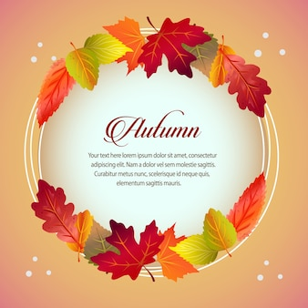 Autumn card round text forest leaves