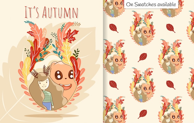 Autumn card and seamless pattern with a hand drawn of cute girl and her friend in the frame of leaves