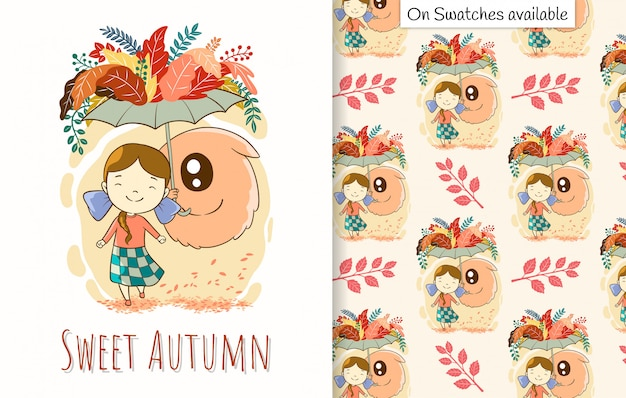 Autumn card and seamless pattern with a hand drawn of cute girl and her friend under umbrella