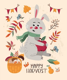 Autumn card with cute bunny and leaves
