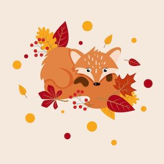 Осенняя открытка с милой лисой падающими листьями для плаката, баннера, обложки открытки, открытки