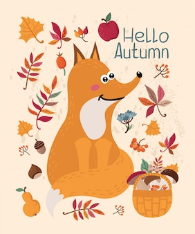 Autumn card with fox and leaves