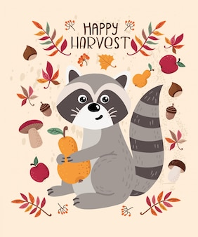 Autumn card with raccoon and leaves