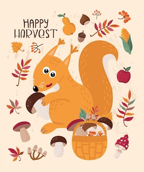 Autumn card with squirrel and leaves