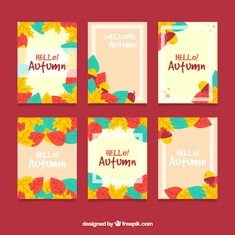 Autumn cards collection with colorful leaves