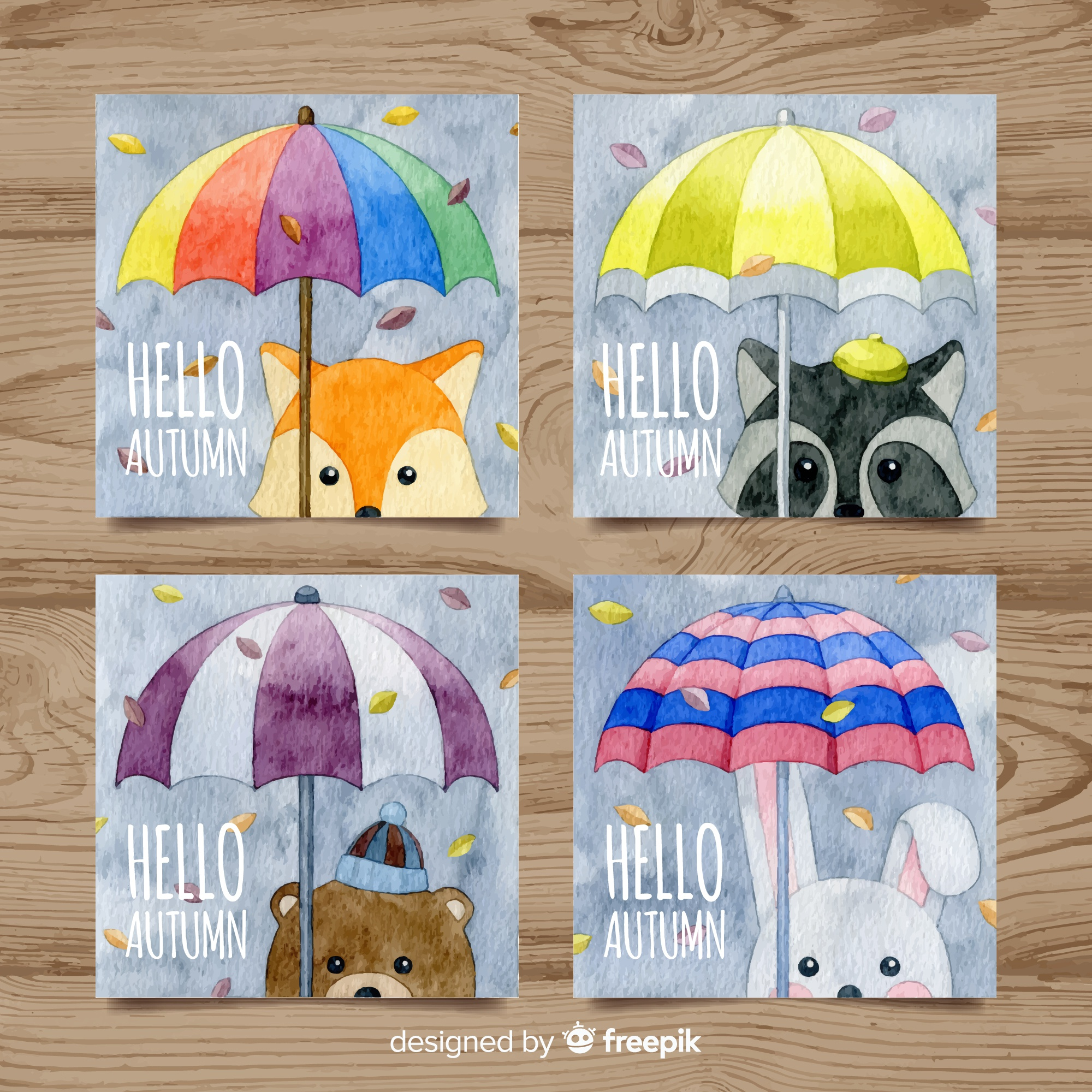 Autumn cards collection with cute animals in watercolor style