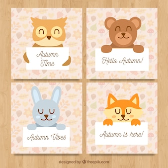 Autumn cards collection with cute animals