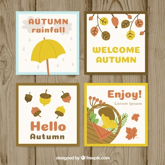 Autumn cards collection with elements