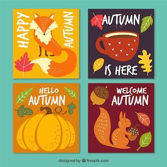要素を持つ秋のカードコレクション