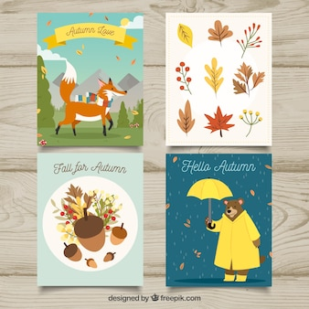 Autumn cards collection with leaves and animals