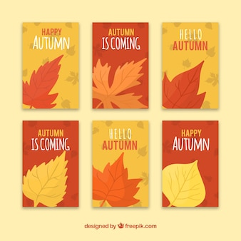 Autumn cards collection with leaves