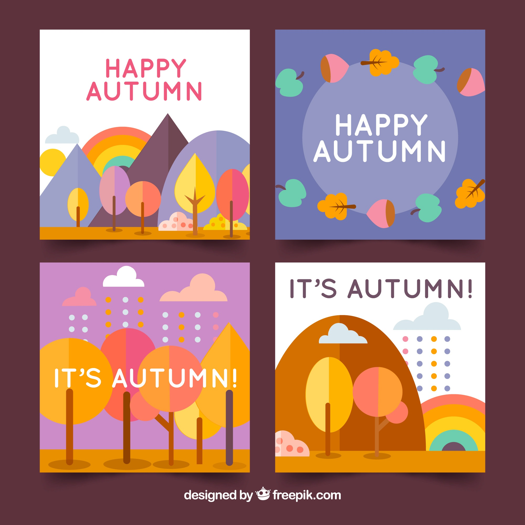 Autumn cards collection with trees