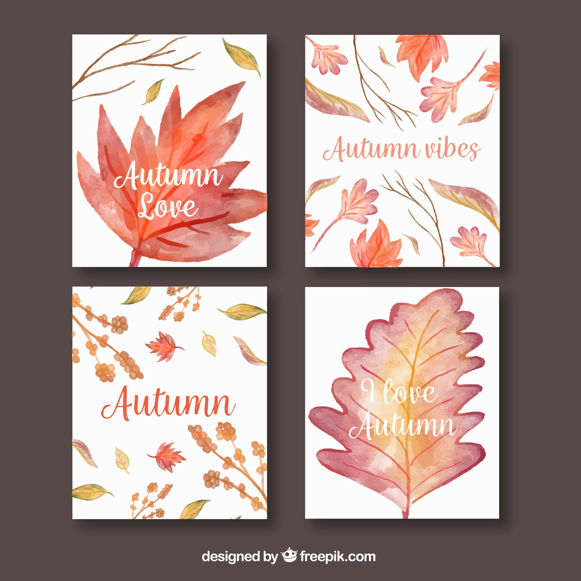 Autumn cards collection with watercolor leaves