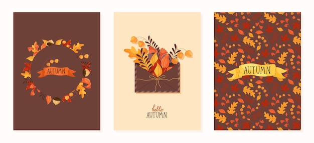 Autumn cards and prints with envelope autumn elements, leaves in flat modern style