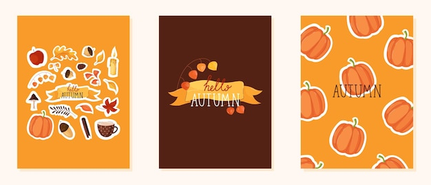 Autumn cards with leaves, acorns and lettering in trendy flat style in yellow and brown color