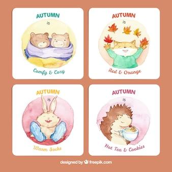 Осенние открытки с прекрасными акварельными животными