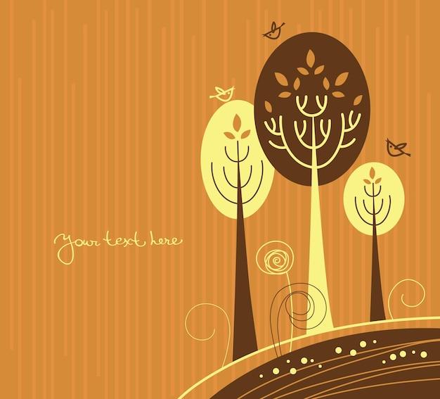 Осенний мультяшный фон с деревьями и птицами