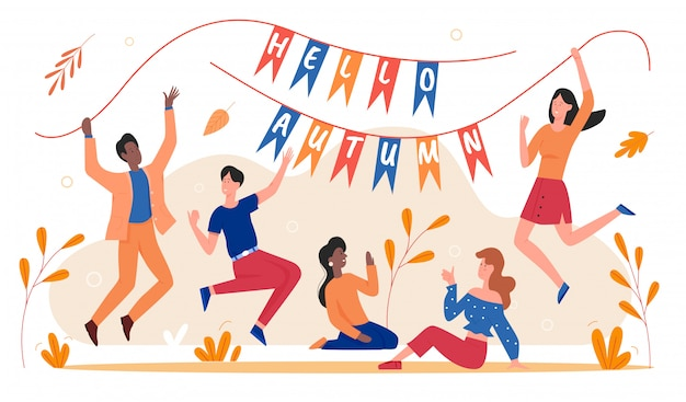 Autumn celebration  illustration. cartoon  man woman young excited characters holding flags with hello autumn text, happy friend people celebrating start of fall season  on white