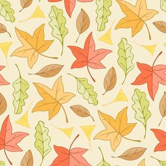 Осенние изменения цвета кленовых листьев и листьев гинкго и листьев желудя бесшовный фон фон