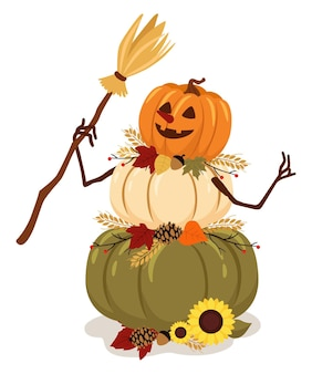 Autumn character vector pumpkin man with leafs october illustration