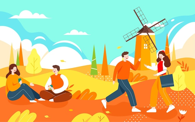 Autumn characters outdoor activities illustration autumn friends travel autumn outing poster