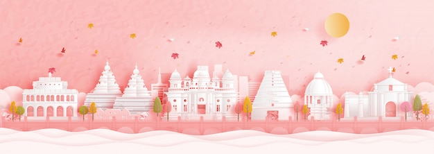Autumn in chennai, india with falling leaves and world famous landmarks in paper cut style illustration