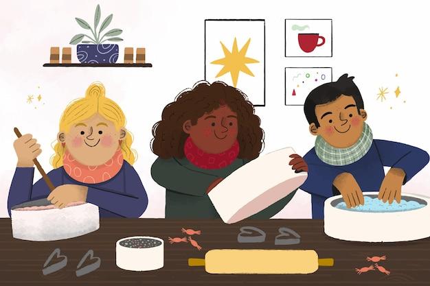 Autumn children cooking flat illustration