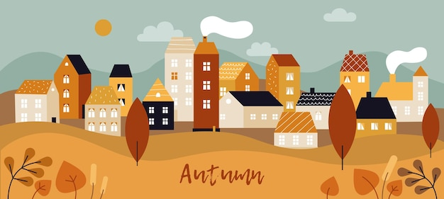 Autumn city landscape. fall season panorama with simple cute houses and, trees and plants with yellow leaves. minimal town vector background. illustration plant, scene autumn season, outdoor fall tree