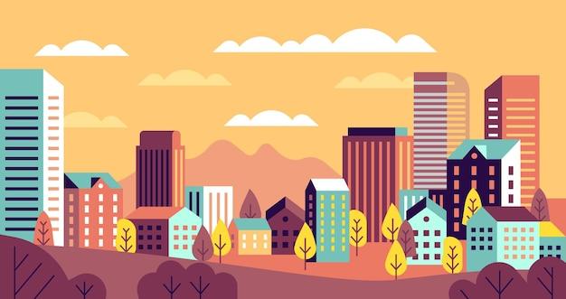 秋の街の風景イラスト