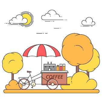 Autumn city landscape with coffee bicycle in central park. vector illustration. line art. concept for building, housing, real estate market, architecture design, property investment banner, card.