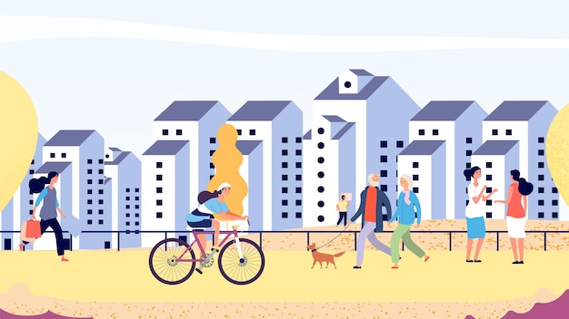 秋の街の通り。新しい地区のイラストで幸せな人々。秋の散歩、フラットな男性と女性のカップル。人が乗って歩く秋の街
