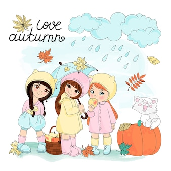 Autumn clipart vector illustration set color