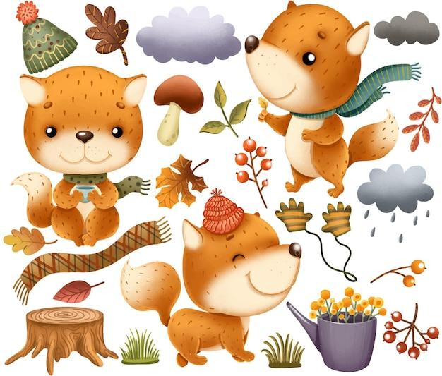 Осенний клипарт с милыми лисичками и элементами декора