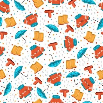 Осенняя одежда векторный мультфильм бесшовные модели на белом фоне.