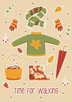Autumn clothes for walking in the forest or park