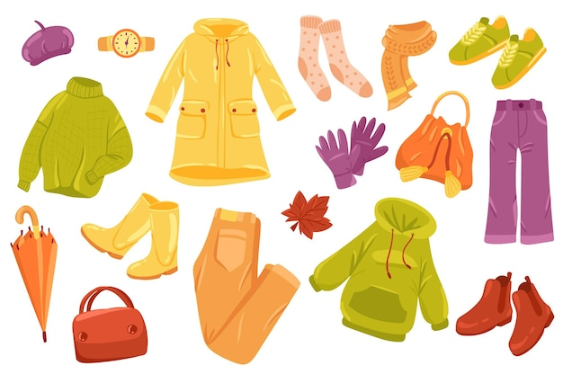 Набор милых элементов осенней одежды