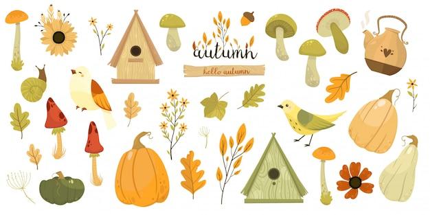 Autumn collection. pumpkin, mushroom, bird, leaves.