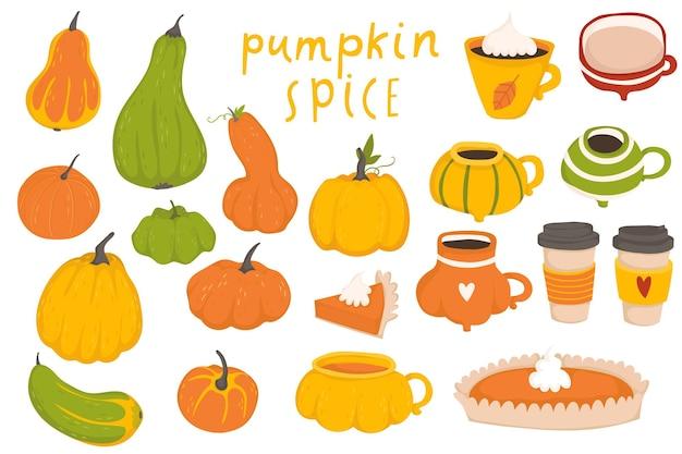 Autumn collection of pumpkin set elements