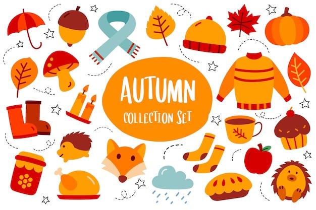 가을 컬렉션 세트 낙서 스타일 가을 시즌 손으로 그린