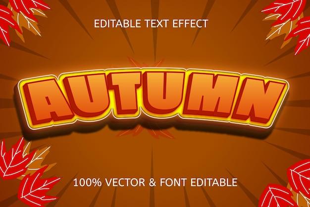 Осенний цвет коричневый желтый редактируемый текстовый эффект