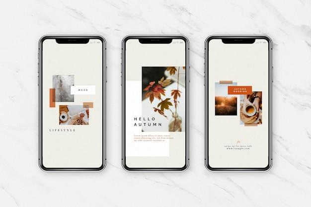 Modello di telefono cellulare per blog sui social media con tonalità di colore autunnale