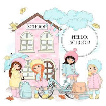 Autumn color vector illustration set hello school