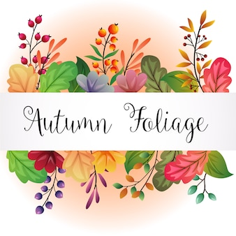 Autumn colored leaves background illustration