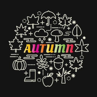 Autumn colorful gradient with line icons set Premium Vector