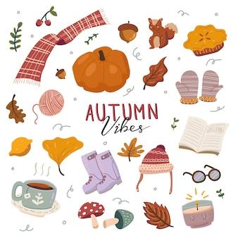 Autumn colorful hand drawn doodle elements