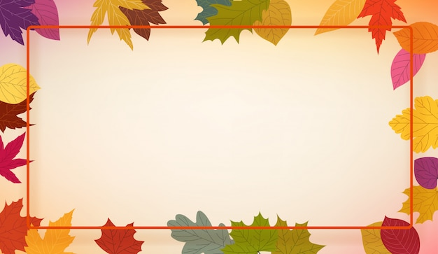 Autumn colorful leaves frame,